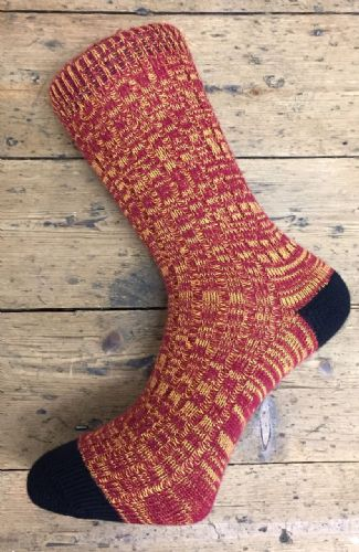 Men's Wool Socks - Claret & Amber Marl - Machine Washable.